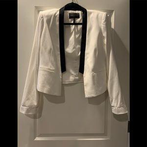 BCBGMaxAzria Black and White Crop Blazer